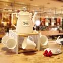 Bộ ấm trà trắng 14 chi tiết kèm đế để nến