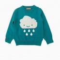 Áo len bé gái thêu hình mây mưa màu xanh