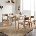 Bộ bàn ăn 4 ghế IBIE Naju màu tự nhiên (BÀN 1M4)