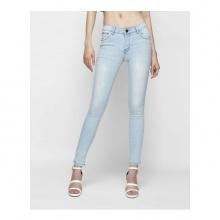 Quần jeans nữ skinny xanh phấn lưng vừa - AAA JEANS