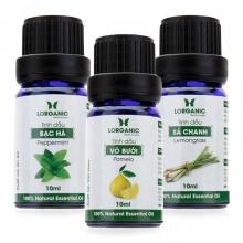 Combo 3 loại tinh dầu sả chanh, vỏ bưởi và bạc hà nguyên chất Lorganic 10ml