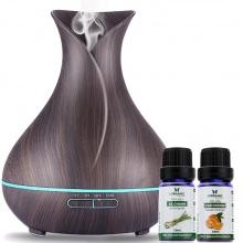 Combo máy khuếch tán tinh dầu bình hoa màu nâu FX2020 + tinh dầu sả chanh + tinh dầu cam Lorganic (10ml x2) LGN0185