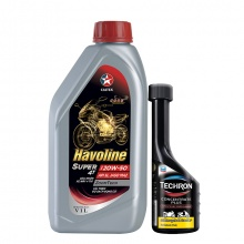 Bộ dầu nhớt xe moto và xe số Caltex Havoline Super 4T SAE 20W50 API SL JASO MA2 1L kèm dung môi pha xăng