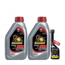 Combo 2 chai dầu nhớt xe số và xe côn tay Caltex Havoline Super 4T 20W50 API SL JASO MA2 800ml tặng kèm dung môi pha xăng