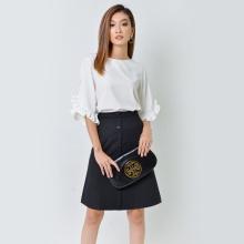 Áo công sở thời trang Eden tay loe nhúng bèo màu trắng - ASM035