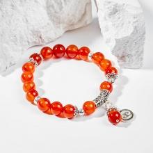 Vòng tay phong thủy 12 cung hoàng đạo đá mã não đỏ charm Cự Giải 8mm mệnh Hỏa, Thổ - Ngọc Quý Gemstones