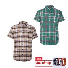 Bộ 2 áo sơ mi ngắn tay sọc caro thời trang tặng kèm 1 dây nịt SMC2969