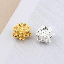 Charm bạc bông sen xỏ ngang 12.8mm - Ngọc Quý Gemstones