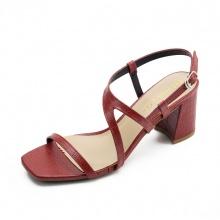 Giày sandal cao gót Erosska mũi vuông phối quai dây mảnh, hoạ tiết da rắn nổi bật cao 7cm EM034 (màu đỏ)