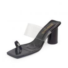 Dép cao gót đế vuông thời trang Erosska quai mảnh phối mica trong kiểu dáng đơn giản cao 9cm EM037 (màu đen)