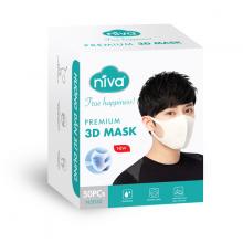Hộp 50 chiếc khẩu trang 3D Niva cao cấp người lớn- kháng khuẩn, chống bụi bảo vệ sức khỏe