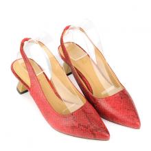 Giày cao gót cách điệu vân da rắn SUNDAY CG50 - Màu đỏ