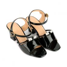 Giày sandal gót vuông quai phối hạt SUNDAY DV61 - Màu đen
