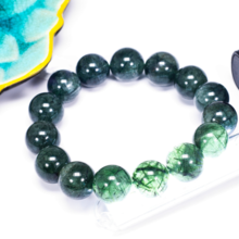 Vòng tay đá thạch anh tóc xanh size hạt 15mm - Ngọc Quý Gemstones