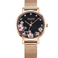 Đồng hồ nữ Julius Hàn Quốc JA-1164LG dây thép mặt  khảm khoa