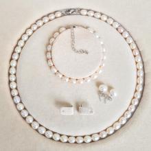 Bộ trang sức Ngọc trai Thiên nhiên Cao cấp 3M - Chuỗi đơn - PearlMango (7-8ly) - CTJ0203 + Tặng kèm phụ kiện