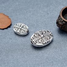 Charm bạc xỏ ngang hình bầu dục họa tiết hoa văn - Ngọc Quý Gemstones