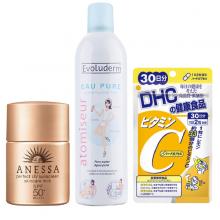Combo Chống Nắng 2 Xịt khoáng Evoluderm, Sữa chống nắng Anessa, viên Vitamin C DHC.