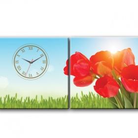Dyvina 2T3030-2 - Đồng hồ tranh Hoa Tulip Đỏ