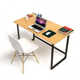Bộ bàn Oak-F vân gỗ sồi chân đen và ghế Eames chân gỗ trắng - IBIE