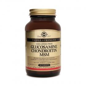 Nhập khẩu USA chính hãng - Viên uống hỗ trợ xương khớp Solgar® Triple Strength ShellFish-Free Glucosamine Chondroitin MSM 60 viên nén - tặng kèm áo thun