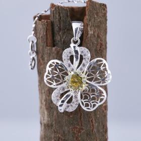 Opal - Dây chuyền bạc kèm mặt hoa 5 cánh _T05