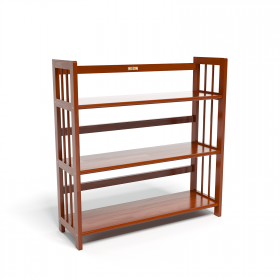 Kệ sách 3 tầng HB390 gỗ cao su màu cánh gián (90x30x90cm) - IBIE