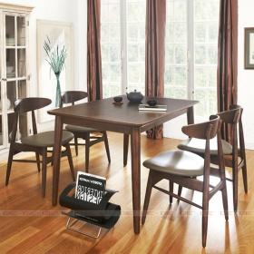 Bộ bàn ăn 4 ghế IBIE Suwon màu walnut