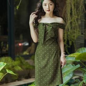 Đầm bi hở vai thắt nơ Kimi - AD180003