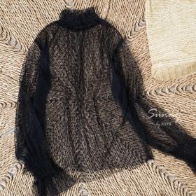 Áo lưới đen tay dài -AK180050