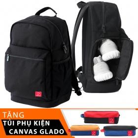 Balo du lịch thời trang Glado Wander GWD001 (màu đen) - tặng túi phụ kiện canvas