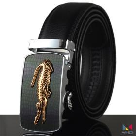 Thắt lưng dây nịt nam da bò 2 lớp mặt khóa cá sấu Manzo 308 ( tặng móc khóa da bò)