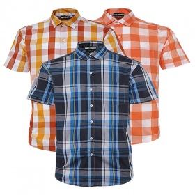 Bộ 3 áo sơ mi ngắn tay sọc caro thời trang ASM203 (xanh,cam,đỏ sọc caro cam)