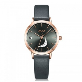 Đồng hồ nữ Julius Hàn Quốc  JA-1076E dây da (đen)
