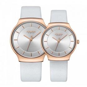 Đồng hồ cặp ja-1156a julius hàn quốc dây da - trắng