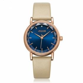 Đồng hồ nữ Julius Hàn Quốc dây da JA-1012D kem mặt xanh