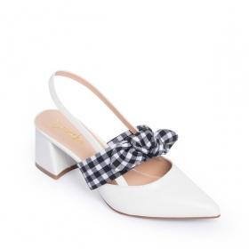 Giày nữ, giày cao gót slingback phối nơ hở gót cao 5cm erosska _ EH028 (WH)