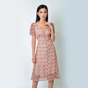 Đầm chữ a thời trang Eden cổ vuông in họa tiết màu hồng - D364