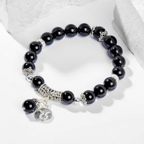 Vòng tay phong thủy 12 cung hoàng đạo đá obsidian charm kim ngưu 8mm mệnh thủy , mộc - Ngọc Quý Gemstones