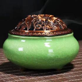 Lư xông trầm hương xanh lá cây nắp đồng - tặng kèm 10 nụ trầm hương