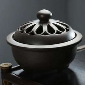 Lò gốm xông trầm cao cấp màu nâu 6905 - tặng kèm 10 nụ trầm hương