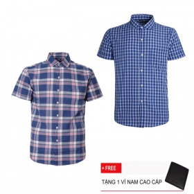 Combo 2 áo sơ mi nam sọc caro Model Fashion cao cấp MSMI3218 (tặng kèm ví nam)