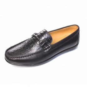 Giày lười nam da bò thật in vân thời trang