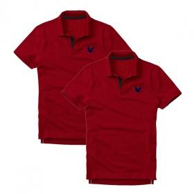 Áo thun nam cổ bẻ vải cá sấu cao cấp, combo 2 áo logo thêu rất sắc xảo (đỏ đô, đỏ đô)