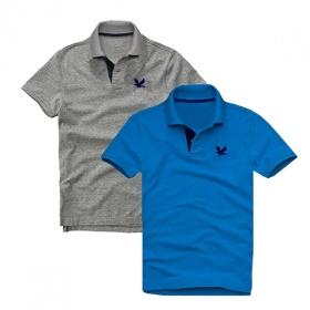 Áo thun nam cổ bẻ vải cá sấu cao cấp, combo 2 áo logo thêu rất sắc xảo (xám đậm, xanh dương)
