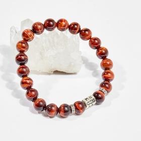 Vòng tay phong thủy đá mắt hổ nâu đỏ charm trụ 8mm mệnh hỏa, thổ - Ngọc Quý Gemstones