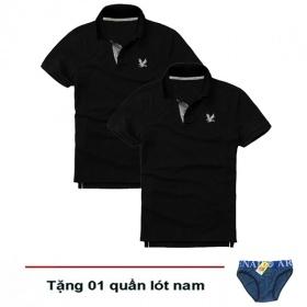 Áo thun nam cổ bẻ vải cá sấu cao cấp, combo 2 áo logo thêu rất sắc xảo (2 áo đen, tặng 1 quần lót nam)