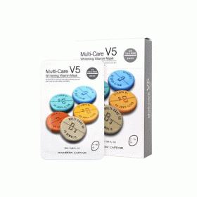 Mặt nạ dưỡng trắng, trẻ hóa da Rainbow L'affair Multi-Care V5 Whitening Vitamin Mask (10 miếng x 25ml)