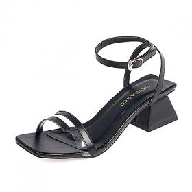 Giày nữ, giày cao gót vuông block heels erosska hở mũi quai mảnh thời trang cao 5 phân EB007
