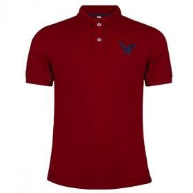 Áo phông nam có cổ polo dokafashion, áo logo thêu rất sắc xảo màu màu đỏ đô, DB03